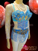 CHARISMATICO Diva Blue Beaded Fringe Carnival Bra With Matching Belt Thong