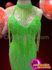 CHARISMATICO Classic Styled Green Sequined Latin Salsa Dress With Deep V-Hem