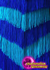 CHARISMATICO Chevron Patterned Royal and Sky Blue Fringe Halter Dance Dress