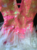 CHARISMATICO Coral Pink Sequin Halter-Style Dance Dress With White Feather Skirt