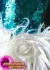 CHARISMATICO Aqua Blue Sequin Halter-Style Dance Dress With White Feather Skirt