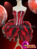 CHARISMATICO Crystal Trimmed Red Sequin Corset With Red and Black Ruffled Skirt