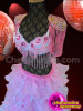 CHARISMATICO Blush Pink Beaded Bra And Organza Ruffle Skirt Burlesque Set
