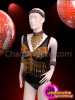CHARISMATICO Black Sequin Dance Leotard With Gold Beading And Multi-Color Crystals