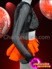 CHARISMATICO Black Sequin Bolero Jacket And Matching Shorts With Orange Skirt