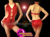 CHARISMATICO Red Sequin Based Beaded Fringe Diva's Leotard With Side Cutouts
