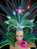 CHARISMATICO Cool Toned Pheasant Feather Samba Headdress With Matching Backpack Collar
