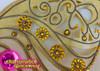 CHARISMATICO Amber And Rhinestone Embellished Large Golden Glitter Cabaret Curtain Wing