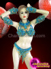 CHARISMATICO Complete Sky Blue Crystal And Gold Beaded Brazilian Samba Costume