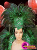 CHARISMATICO Complete Emerald Green Showgirl's Dolly Dress Based Classic Feathered Costume