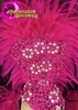 CHARISMATICO Classic Fuchsia And Black Feathered Headdress With Matching Backpack Collar