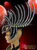 CHARISMATICO Black Glitter Based Crystal And Mirror Accented Mohawk Spike Headdress