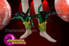 CHARISMATICO Complete Yellow and Green Feathery Male Carnival Samba Costume with Leg and Hand Cuffs