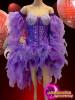 CHARISMATICO Beautiful purple chiffon multi layered glamour girl asymmetrical corset dress