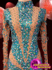CHARISMATICO blue and skin beaded ultimate dance queen sexy body stocking