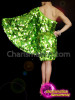 CHARISMATICO Attractive green show stopper diva queen's knee length one shoulder dress