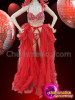 CHARISMATICO Bright Red Drag Queen's Costume Set With Beaded Bra, Ruffled Skirt And Feather Headdress