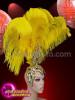 CHARISMATICO Bright yellow ostrich feather showgirl headdress