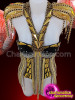 CHARISMATICO Diva gold corset with gold chains, solid gold cut outs and silver sequins