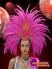 CHARISMATICO Bright fuchsia golden and silver sequinned showgirl headdress