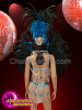 CHARISMATICO Blue and black feather crystal fringed sequinned samba costume set