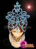 CHARISMATICO Blue beaded show girl diva floral drag queen diva headdress