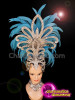 CHARISMATICO Blue feather silver sequinned diva cabaret show girl headdress