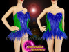 CHARISMATICO Blue green feathered diva show girl show time corset