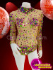 CHARISMATICO Diva nude sheer leotard dress with multicolored sequins