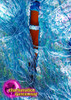 CHARISMATICO Bright blue leotard dress with shiny beads and fringes
