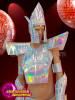 CHARISMATICO  futuristic geometric 3-piece silver costume for men with wrist guards