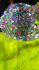 CHARISMATICO neon yellow Stunning, Salsa dance fringe pants with silver sequins