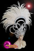 CHARISMATICO  Diva white headdress with feathers and discs