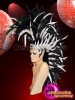 CHARISMATICO  Black and white feather mohawk headdress with silver crown