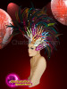 CHARISMATICO  Multi-color feather headdress mohawk with glittering sequins