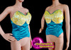 Diva show girl Turquoise Yellow sequinned dance corset Clearance US 2 - 6