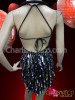 Charismatico Black Silver Sequined Bejeweled Showgirl Halter Dress Costume Set