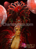 Charismatico Bejeweled Black Red Feathered Diva Showgirl Headdress Mirror accent