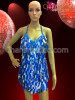 CHARISMATICO Blue Glam Diva Sequin dance Mini-Dress with Jumbo Drop Sequin Fringe