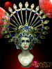 Bejeweled Gold Circular Headdress with Sapphires Rubies Emerald Crystals DRAG QUEEN Headdress