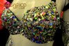 CHARISMATICO Cabaret Floor Showgirl Black Sequin Embellished Iridescent Crystal Spiked Bra