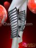 CHARISMATICO Black GAGA Rhinestone Covered Futuristic Jacket, Shin Guards, and Arm Warmer Set