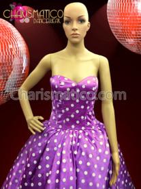 Tea-length 1950's Era Purple and White Polka Dot Monroe Dress