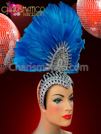 Iridescent Crystal Embellished Tall Fan Shaped Blue Cap style Headdress
