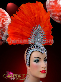 Crystal Accented Cap and Center Orange Fan Shaped Feather Headdress