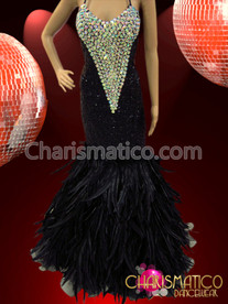 Figure-flattering Crystal and Black Sequin Covered Mermaid Style Feather Gown