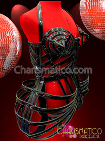 Rocking Hot Black Vinyl Wire Cage Dress Inspired by Madonna 'VOGUE'