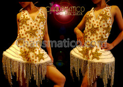 Golden Star Detailed White Lady Gaga Inspired Rhinestone Fringed Dress