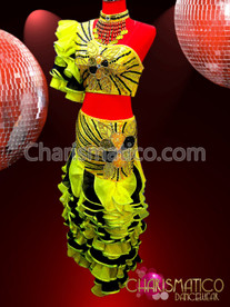CHARISMATICO Three piece sunny yellow and black sequin ruffled flamenco dress