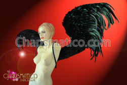 CHARISMATICO Iridescent Black large gothic inspired angel wing feathered backpack